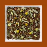 Melisse-Kamille-Fenchel-Baldrian. Naturbelassene Rooibusch-Tee-/Kräutermischung.
