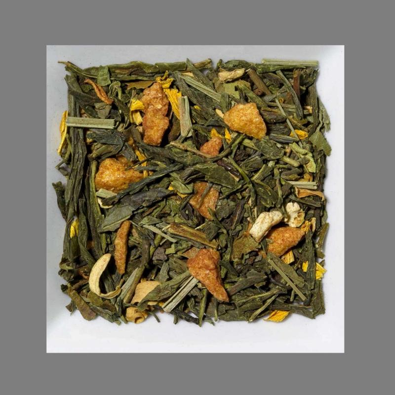 Orange-Ingwer Aromatisierte Grüntee-/Gewürzmischung