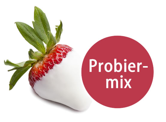 5 Früchte in weißer Schokolade Probiermix