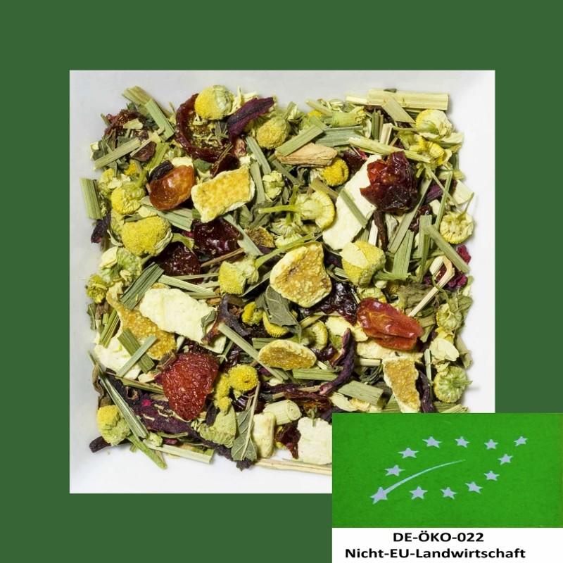 Vanille-Orange-Kamille Biotee DE-ÖKO-022. Natürlich aromatisierte Kräuter-/Früchteteemischung