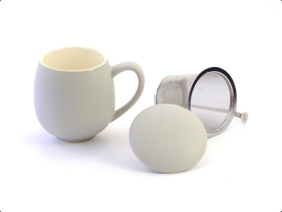 "Kräuterteetasse ""Saara"" Porzellan, 3-teilig, matt grau 0,35 l"