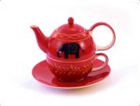 """Tea for one Set """"Benares"""" Keramik, 4-teilig Kanne: 0,4 l, Tasse: 0,2 l"""