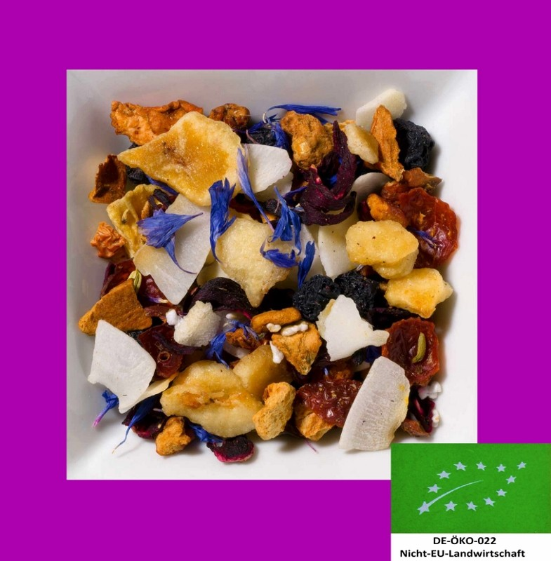 Kokos-Ananas Biotee DE-ÖKO-022. Natürlich aromatisierte Früchteteemischung