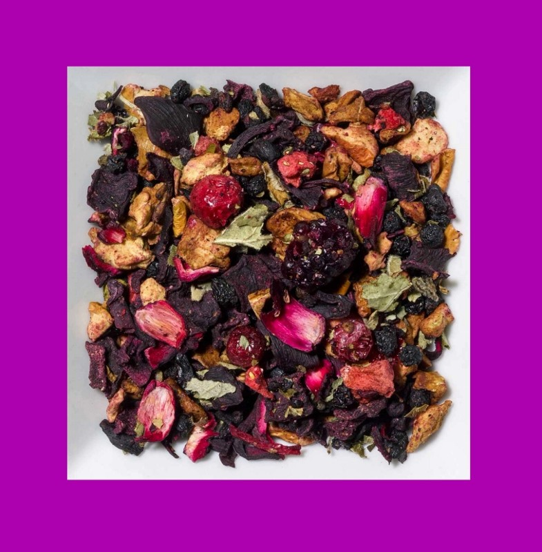 Rhabarber-Erdbeere-Rote Johannisbeere. Aromatisierte Früchteteemischung.