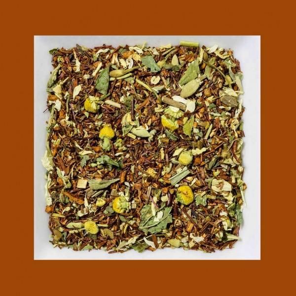 Rooibusch Damianablätter/ Baldrian/Melisse/Kamille. Natürlich aromatisierte Rooibusch-Tee-/Kräutermischung