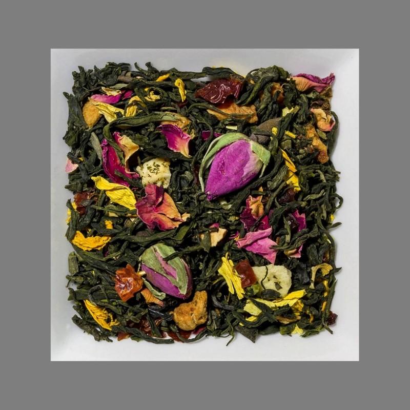 Sahne-Pfirsich-Rose. Natürlich aromatisierte Grüntee-/ Früchtemischung