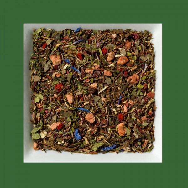 Hanf-Erdbeere-Chili. Natürlich aromatisierte grüne Rooibusch-Tee-/ Früchtemischung.