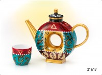 "Tee-Set ""Abigail"" Porzellan, Kanne und 2 Cups Kanne: 0,65 l, Cup: 0,12 l"